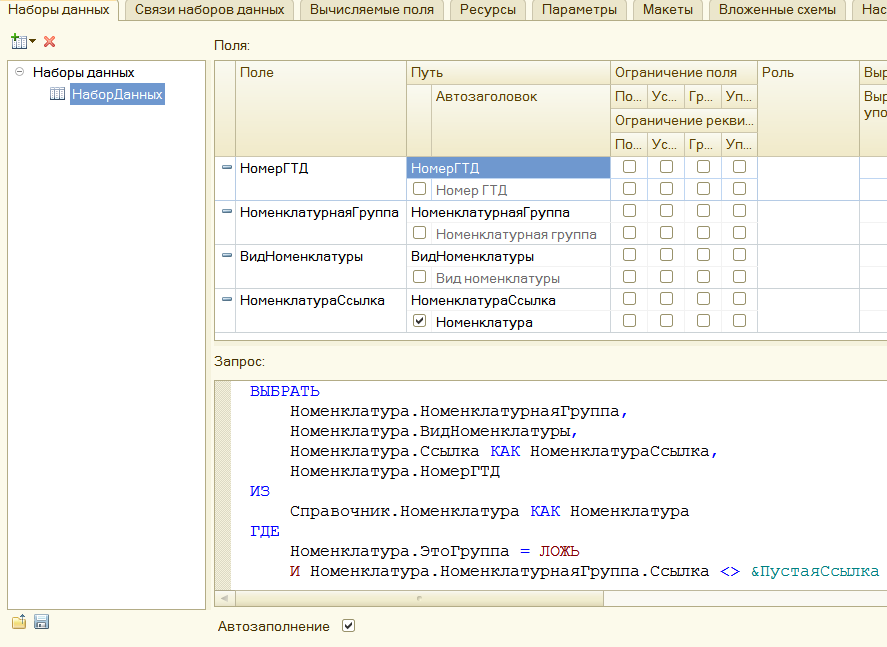 Схема компоновки данных в обработке